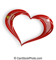 heart with chinese flag on white background