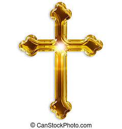 religioso, Simbolo, crocifisso, isolato, bianco, fondo