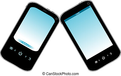Black mobile smart phone with blue screen isolated on white