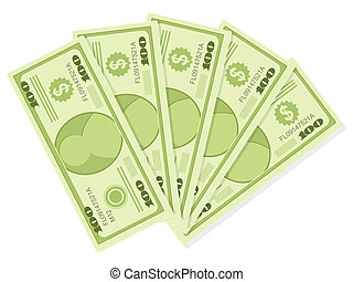 500 dollars - The five hundreds dollar banknotes isolated on...