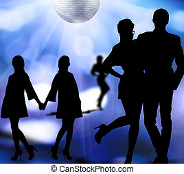 nightlife - silhouettes of men and women dancing at a disco