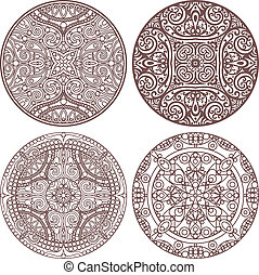 4 mandala stroke set - vector set of 4 mandalas in stroke