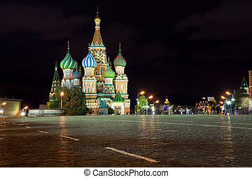 Intercession Cathedral in night. Moscow - Intercession...
