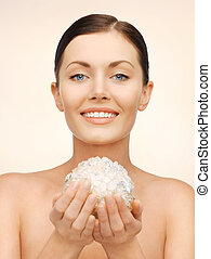 woman with bath ball - bright picture of beautiful woman...