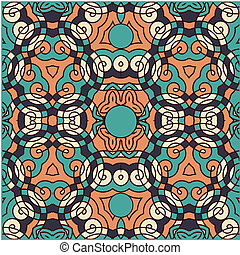 Seamless wallpaper pattern, in blue and orange