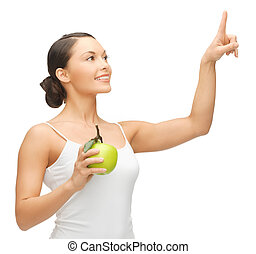 woman with green apple - woman holding apple and working...