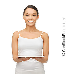 woman with tablet pc - picture of beautiful woman with...