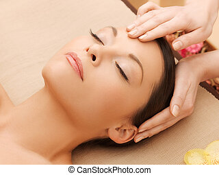 beautiful woman in massage salon - picture of happy...