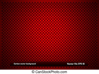 Red carbon background - Metal plate background with square...