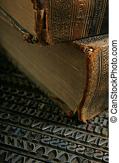 movable type with old book - Typography workshop Old...