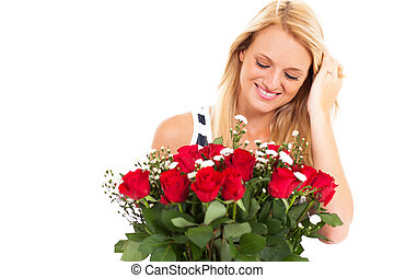 young woman received roses - happy young woman received...