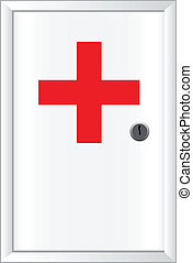 Office first aid kit White cabinet with lockable door Vector...