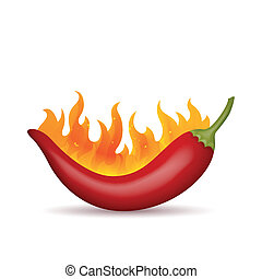 Red Chilli - Vector Illustration of a Flaming Red Chilli