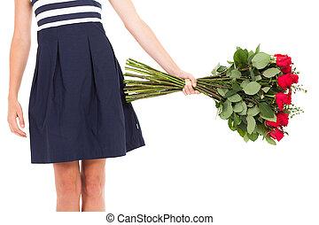 azul, mujer, rosas, tenencia, Vestido, ramo
