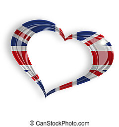 heart with british flag on white background