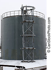 gray storage tank with stairs - gray storage tank and stairs...
