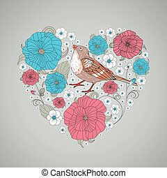 Floral Heart - Vector Illustration of an Abstract Floral...