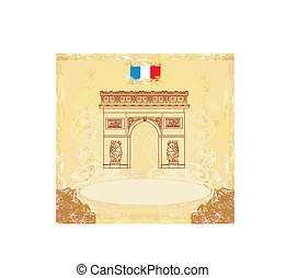 Hand drawn vector illustration of Paris Triumph Arc
