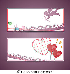 Valentine Banners - Vector Illustration of Two Abstract...