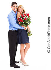 couple with bunch of roses full length - young couple with...