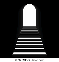 Staircase to arch door - Vector illustration