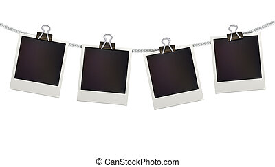 Polaroid photo frames - illustration of four blank retro...