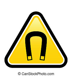 Magnetic field warning sign Illustration on white background...