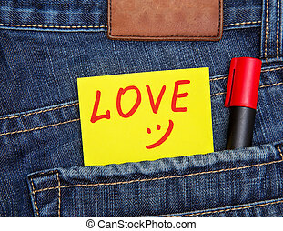 Valentine's, day, card, jeans, pocket