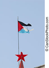 Palestinian flag flapping in the wind