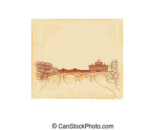 grunge background - hand draw Basilica di San Pietro,...