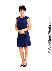 middle aged woman in blue dress - elegant middle aged woman...
