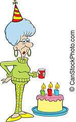 Cartoon elderly women with a birthd - Cartoon illustration...