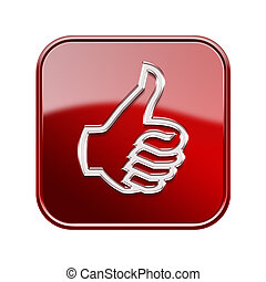 thumb up icon glossy red, isolated on white background