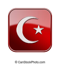 Turkish  icon glossy red, isolated on white background