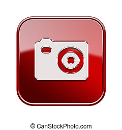 Camera icon glossy red, isolated on white background