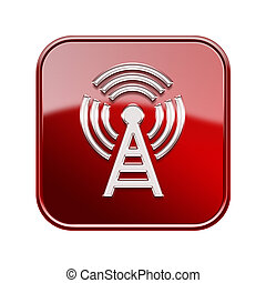 WI-FI tower icon glossy red, isolated on white background