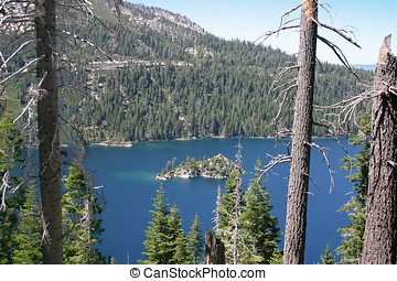 Fannette Island on Lake Tahoe - View through the trees of...