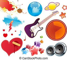 summer music design elements - Vector illustration set of...
