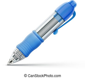 ballpoint pen - Vector illustration of detailed blue...