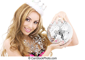 lovely fairy in crown with disco ball - picture of lovely...