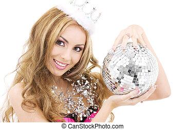encantador, fada, coroa, discoteca, bola