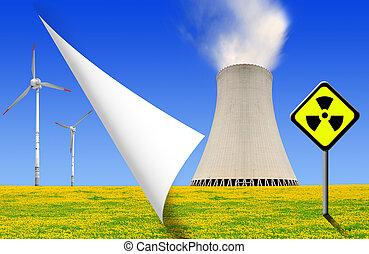 energy concepts - nuclear power plant and wind turbines