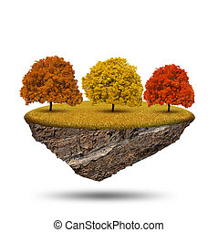 Little island with autumnal trees