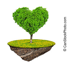 Little island and tree in the shape heart isolated on white...