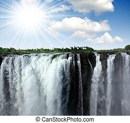 Victoria Falls - Zambezi River and Victoria Falls seen from...