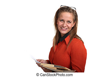 Young Smiling Business Woman Holding Files