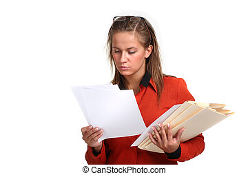 young business woman reading files