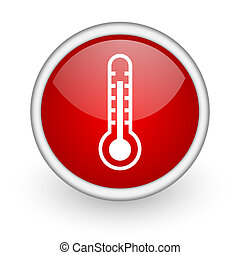 thermometer red circle web icon on white background