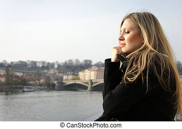 Beautiful woman in Prague