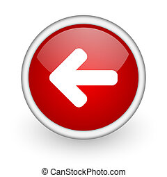 arrow left red circle web icon on white background